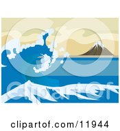 Tsunami Wave Near Mount Fuji Inspired By The Great Wave Off Kanagawa By Katsushika Hokusai Clipart Illustration by AtStockIllustration
