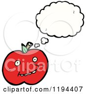 Cartoon Of A Tomato Thinking Royalty Free Vector Illustration by lineartestpilot