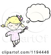 Cartoon Of A Girl Thinking Royalty Free Vector Illustration