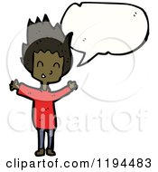 Cartoon Of An African American Boy Speaking Royalty Free Vector Illustration by lineartestpilot