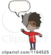 Cartoon Of An African American Man Speaking Royalty Free Vector Illustration by lineartestpilot