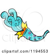 Cartoon Of A Horned Instrument Playing Royalty Free Vector Illustration