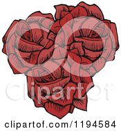 Clip Art Of Three Red Roses Royalty Free Vector Illustration by lineartestpilot