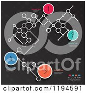 Numbered Infographics Circles And Networked Lattice With Sample Text On Dark Gray