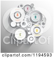 Clipart Of Raised Infographic Circles With Sample Text Over Gray Vector File And Experience Recommended Royalty Free Vector Illustration by KJ Pargeter