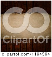 Clipart Of 3d Vintage Paper On Scratched Wood Planks Royalty Free CGI Illustration