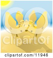 Pretty Sand Castle On A Beach On A Hot Sunny Summer Day Clipart Illustration