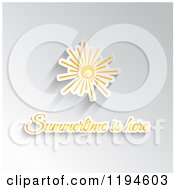 Clipart Of Summertime Is Here Text Under A Sun On Gray Dots Royalty Free Vector Illustration