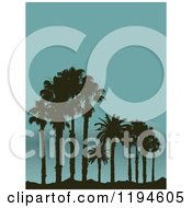 Clipart Of Silhouetted Palm Trees On A Tropical Beach And Mountains In The Distance Royalty Free Vector Illustration