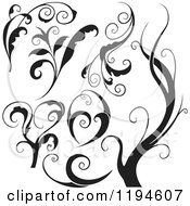 Clipart Of Black Flourish And Wave Design Elements Royalty Free Vector Illustration by dero