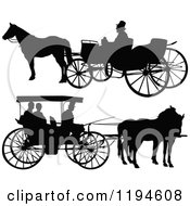 Clipart Of Black Silhouetted Horse Drawn Carriages 2 Royalty Free Vector Illustration