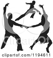 Clipart Of Black Silhouetted Latin Dance Couples 2 Royalty Free Vector Illustration