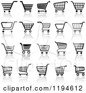 Clipart Of Different Styled Black And White Shopping Cart Website Icons 3 Royalty Free Vector Illustration by dero