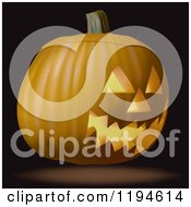 Clipart Of A 3d Halloween Jackolantern Pumpkin On Black Royalty Free Vector Illustration by dero