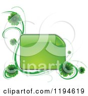 Clipart Of A Reflective Green Frame With Green Flowers And Waves Royalty Free Vector Illustration by dero