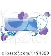 Clipart Of A Reflective Blue Frame With Purple Flowers And Waves Royalty Free Vector Illustration by dero