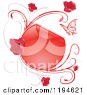 Clipart Of A Reflective Round Red Frame With Flowers Butterflies And Vines Royalty Free Vector Illustration by dero