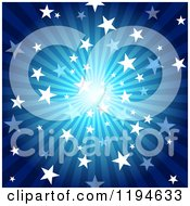 Clipart Of A Star Burst Over Blue Rays Royalty Free Vector Illustration by dero