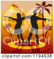 Clipart Of A Silhouetted Latin Dancer Couple On A Stage With Stars And Palm Trees Royalty Free Vector Illustration