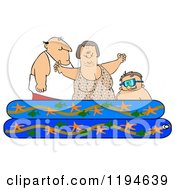 Cartoon Of A Happy Caucasian Family Playing In A Pool Royalty Free Clipart by djart