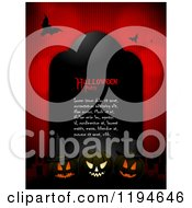 Clipart Of A Black Tombstone With Halloween Party Sample Text And Glowing Halloween Pumpkins And Bats Over Red Royalty Free Vector Illustration