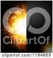 Clipart Of A Black Panel Over A Golden Starry Burst With Text Space Royalty Free Vector Illustration by elaineitalia