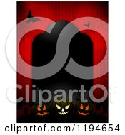 Clipart Of A Black Tombstone Frame With Glowing Halloween Pumpkins And Bats Over Red Royalty Free Vector Illustration