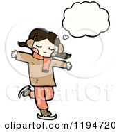 Cartoon Of A Girl Ice Skating And Thinking Royalty Free Vector Illustration