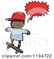 Cartoon Of A Black Boy Skateboarding Speaking Royalty Free Vector Illustration by lineartestpilot