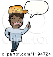 Cartoon Of A Black Boy Speaking Royalty Free Vector Illustration by lineartestpilot