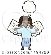 Cartoon Of A Girl With Angel Wings Thinking Royalty Free Vector Illustration