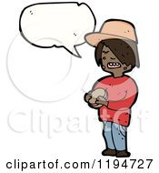 Cartoon Of A Black Boy Eating And Speaking Royalty Free Vector Illustration by lineartestpilot