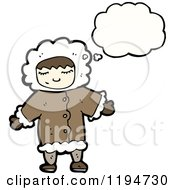 Cartoon Of An Eskimo Girl Thinking Royalty Free Vector Illustration