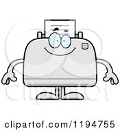Cartoon Of A Happy Printer Mascot Royalty Free Vector Clipart