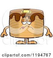 Cartoon Of A Sick Pancakes Mascot Royalty Free Vector Clipart