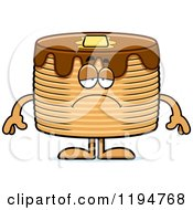 Cartoon Of A Depressed Pancakes Mascot Royalty Free Vector Clipart
