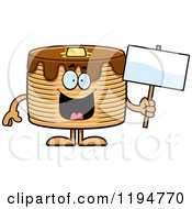 Cartoon Of A Happy Pancakes Mascot Holding A Sign Royalty Free Vector Clipart