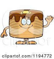 Cartoon Of A Waving Pancakes Mascot Royalty Free Vector Clipart