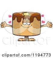 Cartoon Of A Loving Pancakes Mascot Wanting A Hug Royalty Free Vector Clipart