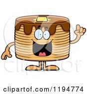Cartoon Of A Smart Pancakes Mascot Royalty Free Vector Clipart