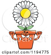 Cartoon Of A Mad Flower Pot Mascot Royalty Free Vector Clipart