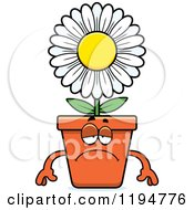 Cartoon Of A Depressed Flower Pot Mascot Royalty Free Vector Clipart