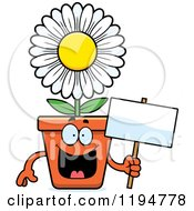 Cartoon Of A Happy Flower Pot Mascot Holding A Sign Royalty Free Vector Clipart