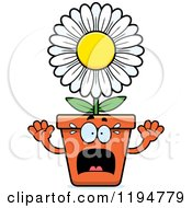 Cartoon Of A Scared Flower Pot Mascot Royalty Free Vector Clipart