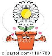 Cartoon Of A Loving Flower Pot Mascot Wanting A Hug Royalty Free Vector Clipart
