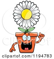 Cartoon Of A Smart Flower Pot Mascot Royalty Free Vector Clipart