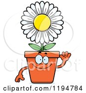 Cartoon Of A Waving Flower Pot Mascot Royalty Free Vector Clipart