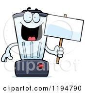 Cartoon Of A Happy Blender Mascot Holding A Sign Royalty Free Vector Clipart