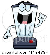 Cartoon Of A Smart Blender Mascot With An Idea Royalty Free Vector Clipart
