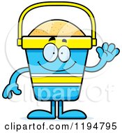 Cartoon Of A Waving Beach Pail Mascot Royalty Free Vector Clipart